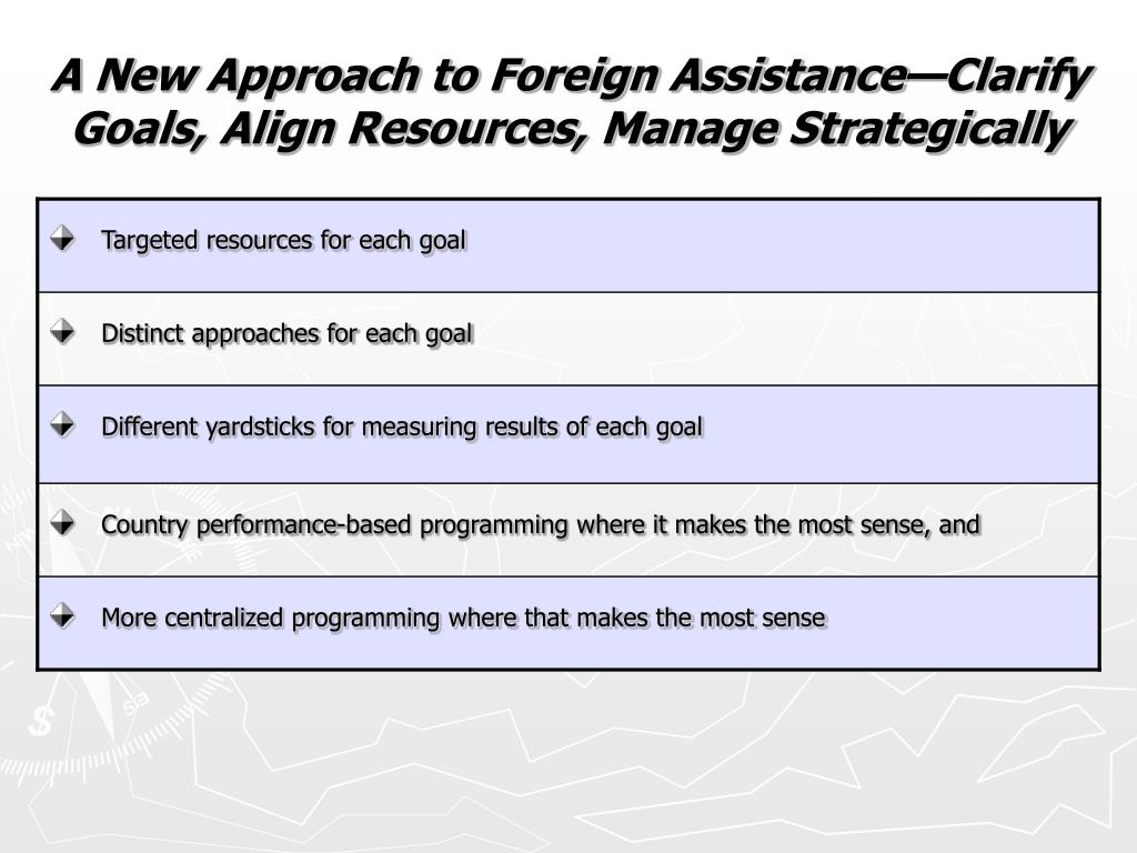A New Approach to Foreign Assistance—Clarify Goals, Align Resources, Manage Strategically