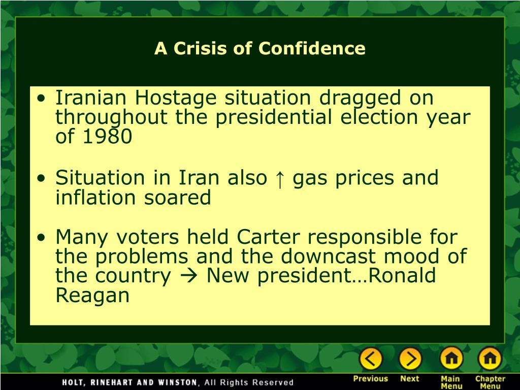 Iranian Hostage situation dragged on throughout the presidential election year of 1980