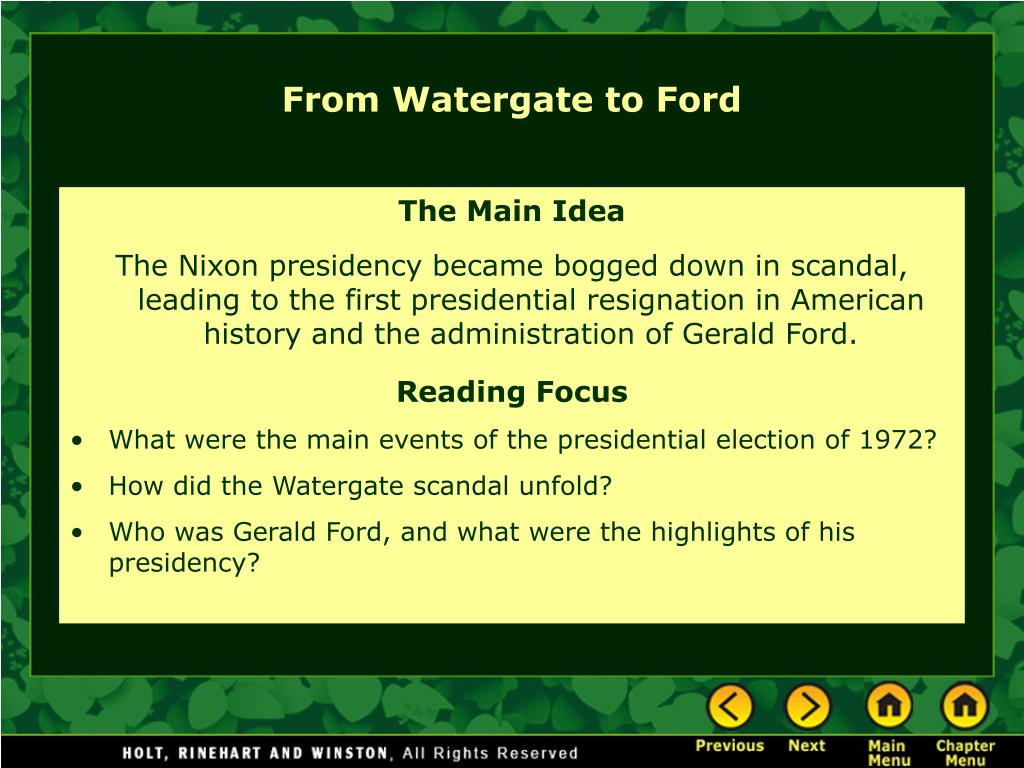 From Watergate to Ford