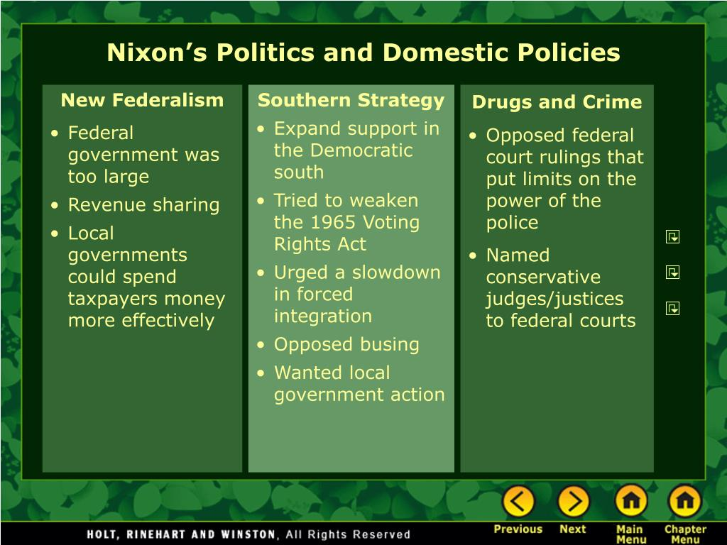 Nixon's Politics and Domestic Policies