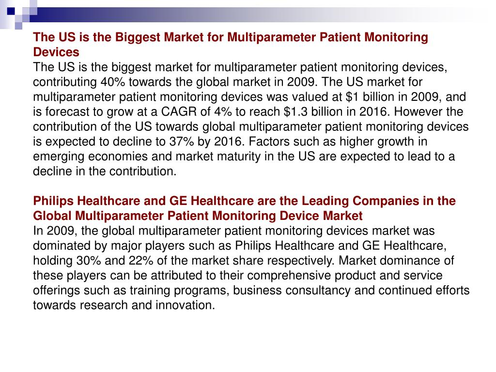 The US is the Biggest Market for Multiparameter Patient Monitoring Devices