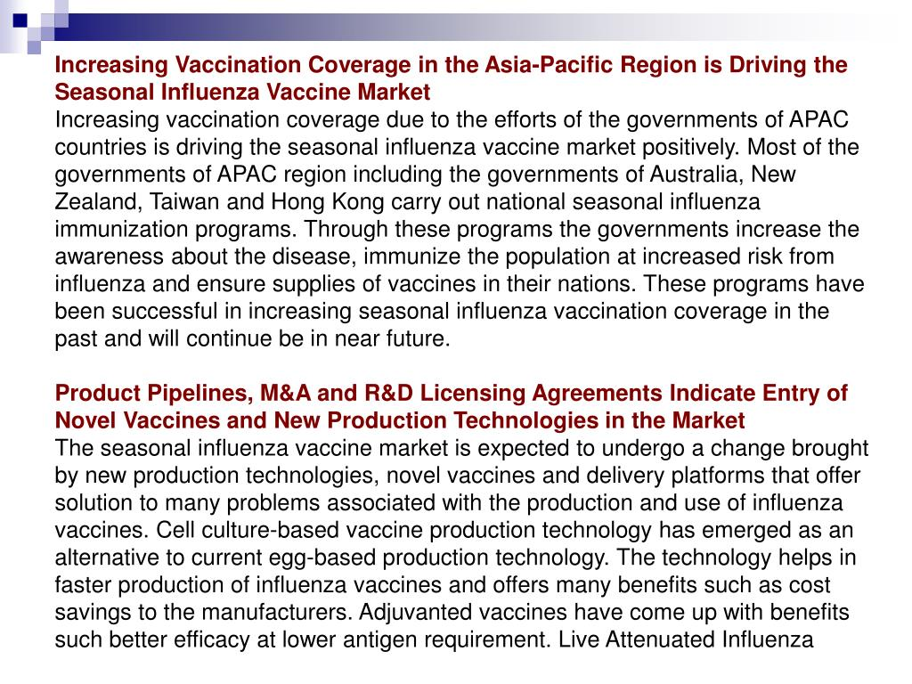 Increasing Vaccination Coverage in the Asia-Pacific Region is Driving the Seasonal Influenza Vaccine Market