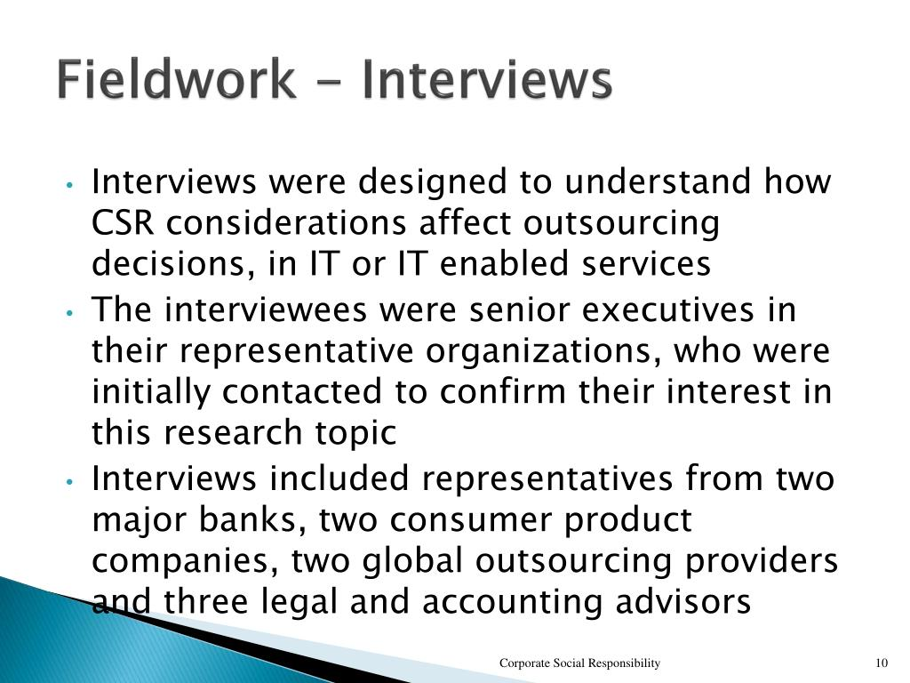 Fieldwork - Interviews