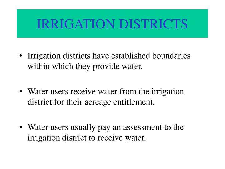 IRRIGATION DISTRICTS