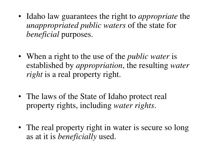 Idaho law guarantees the right to