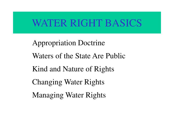 Water right basics