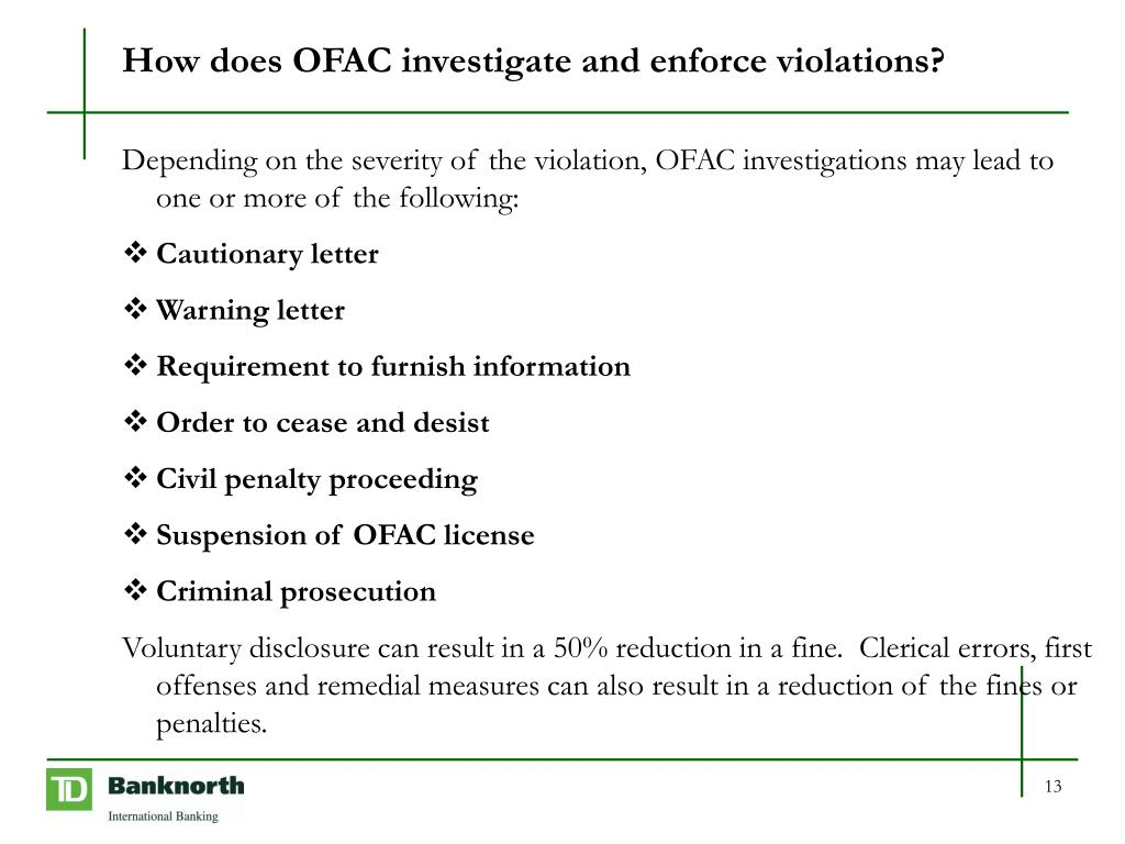 How does OFAC investigate and enforce violations?
