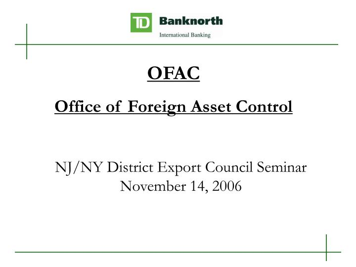 Nj ny district export council seminar november 14 2006