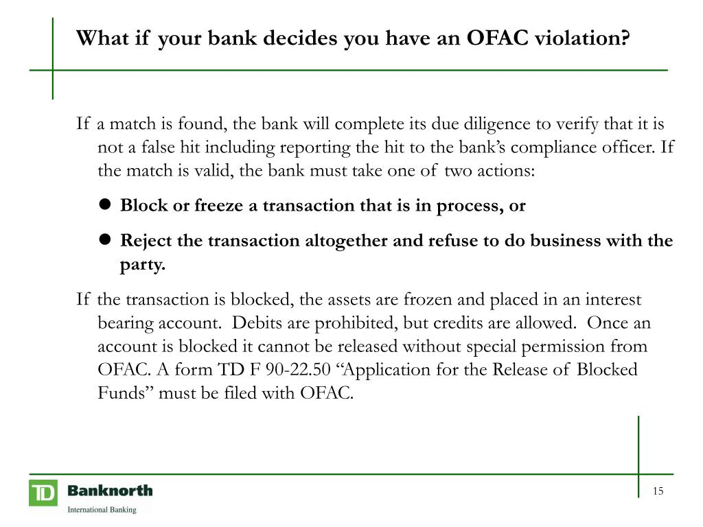 What if your bank decides you have an OFAC violation?