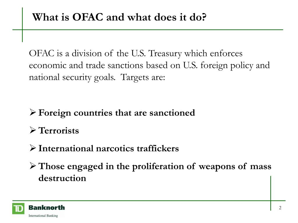 What is OFAC and what does it do?