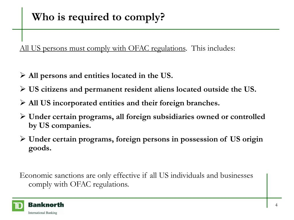 Who is required to comply?