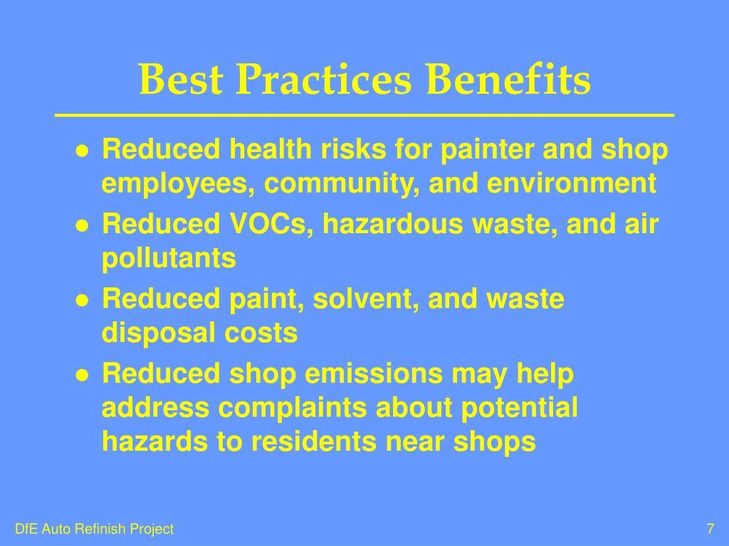Best Practices Benefits