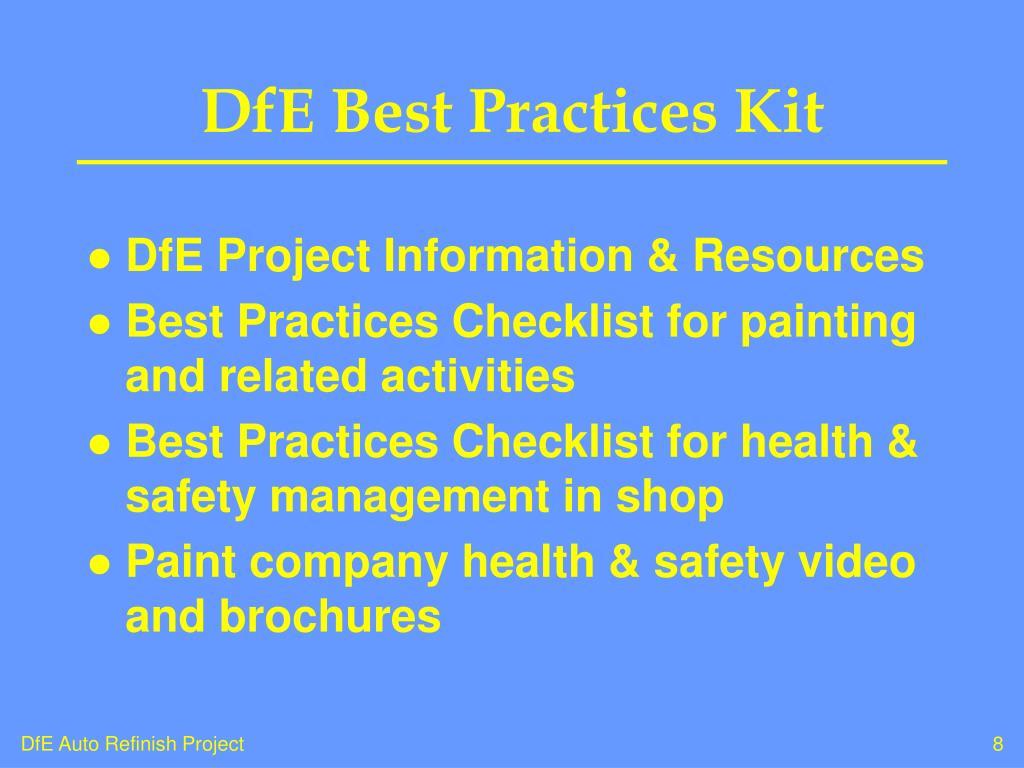 DfE Best Practices Kit