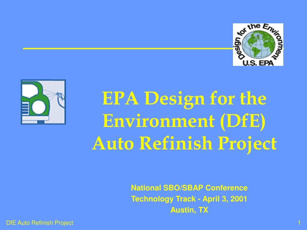 EPA Design for the Environment (DfE) Auto Refinish Project