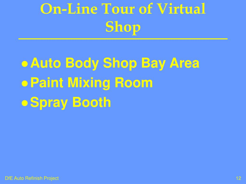 On-Line Tour of Virtual Shop