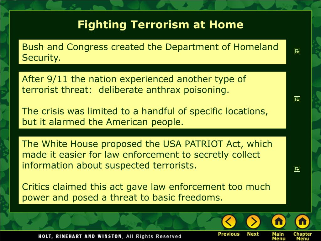 Fighting Terrorism at Home