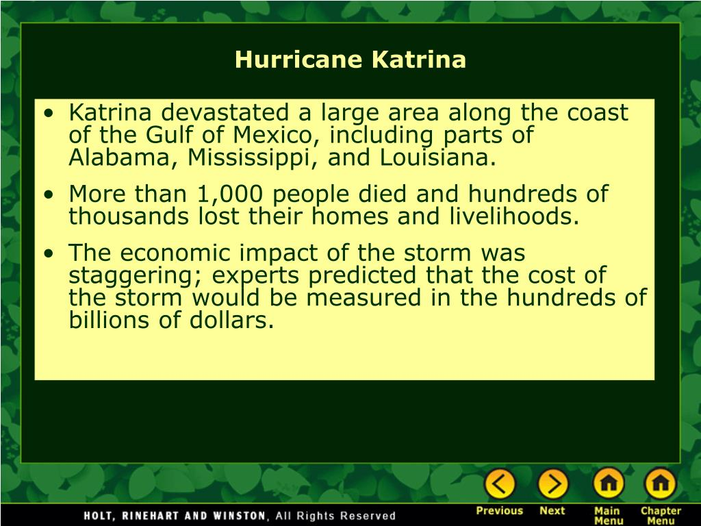 Katrina devastated a large area along the coast of the Gulf of Mexico, including parts of Alabama, Mississippi, and Louisiana.