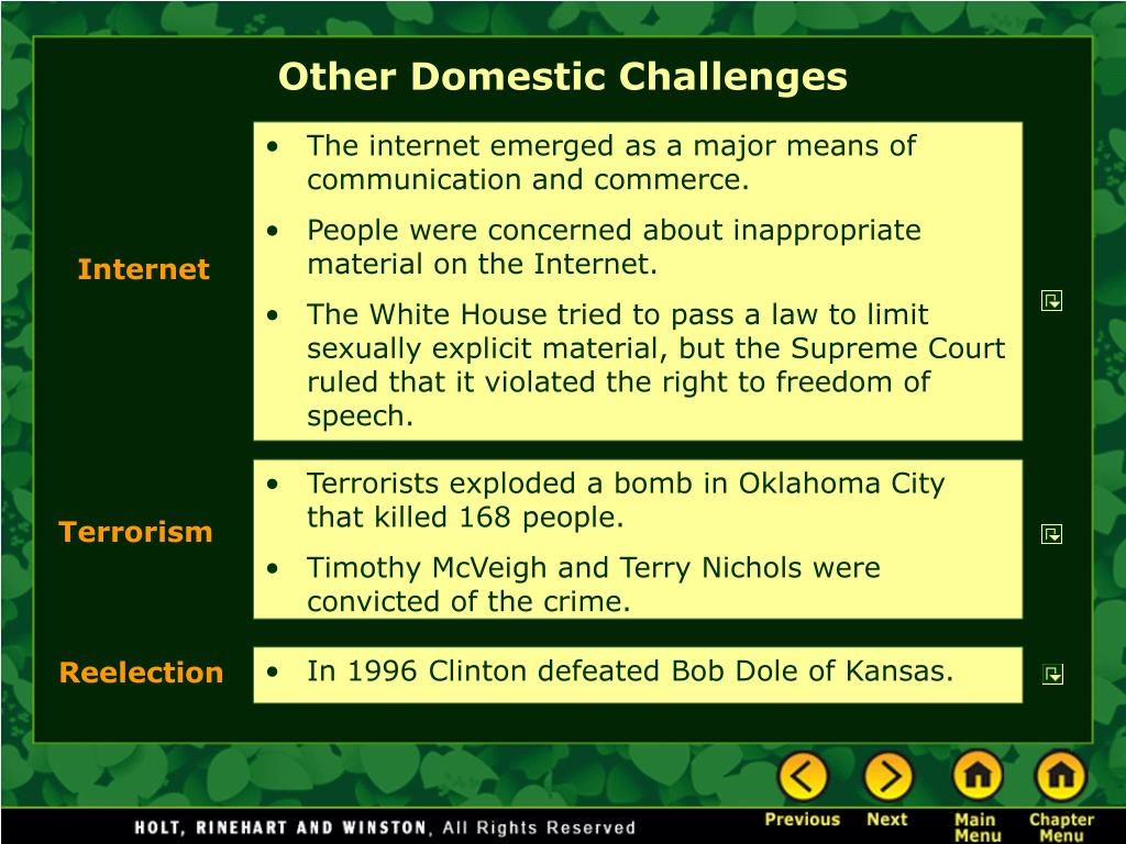 Other Domestic Challenges