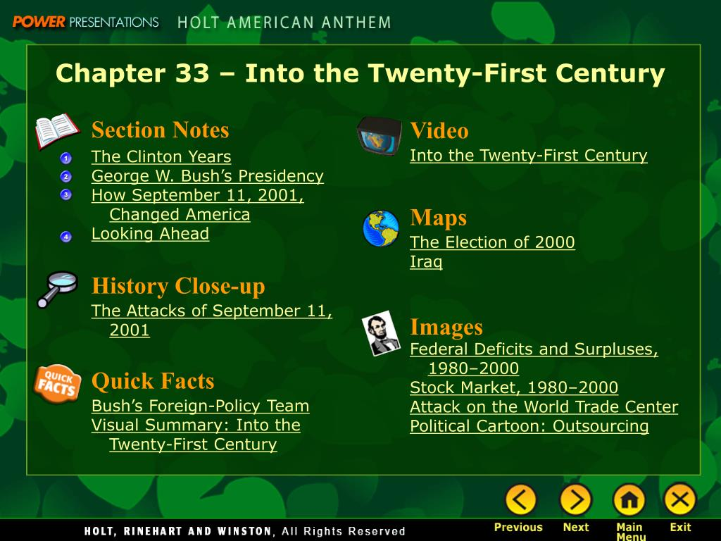 Chapter 33 – Into the Twenty-First Century
