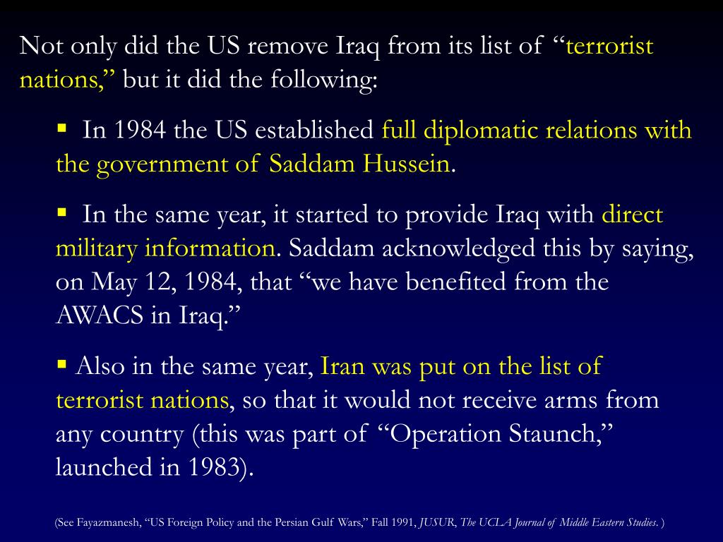 """Not only did the US remove Iraq from its list of """""""