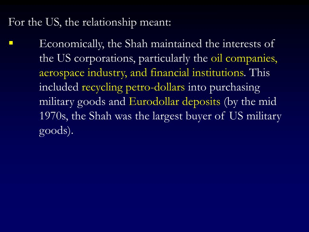 For the US, the relationship meant:
