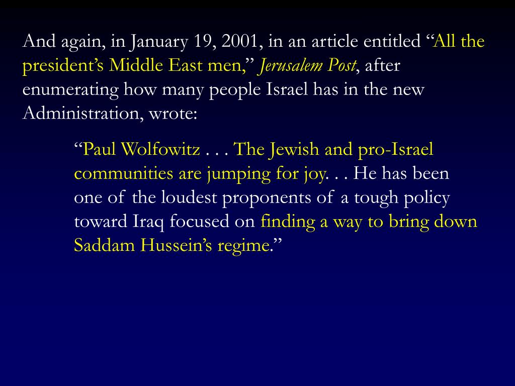 """And again, in January 19, 2001, in an article entitled """""""