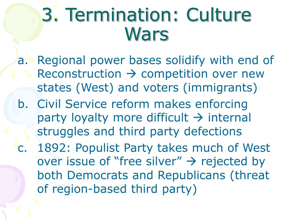 3. Termination: Culture Wars