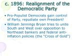 c 1896 realignment of the democratic party