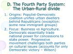 d the fourth party system the urban rural divide