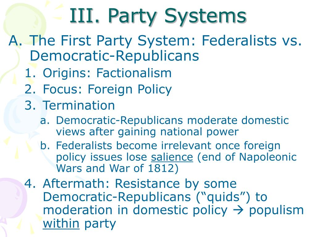 III. Party Systems