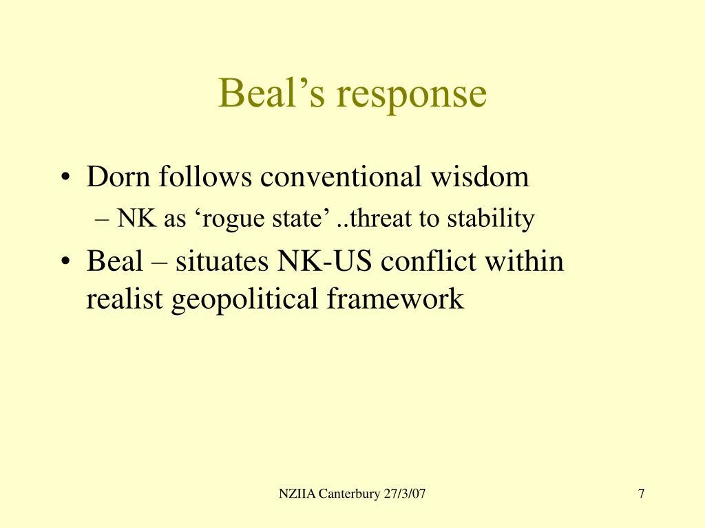 Beal's response