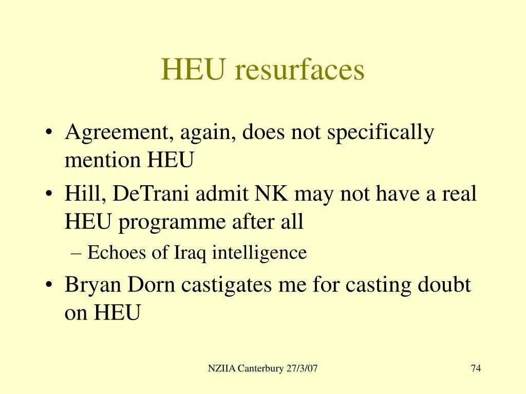 HEU resurfaces