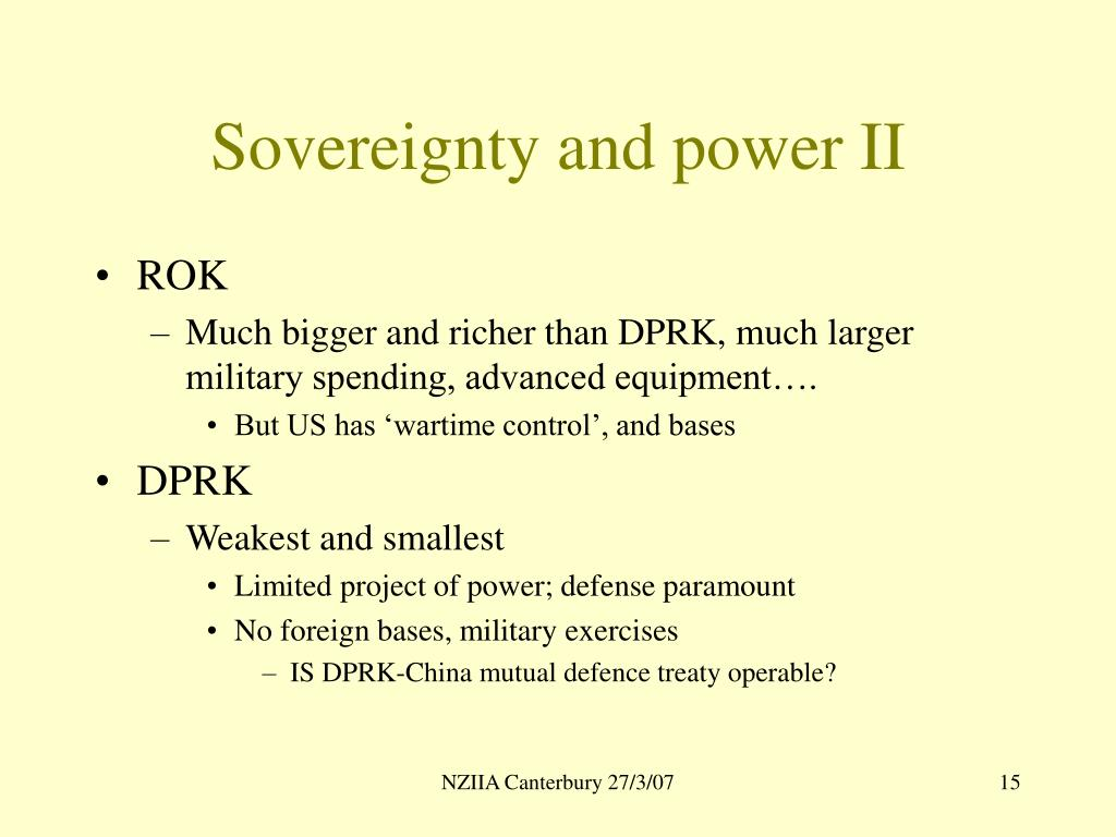 Sovereignty and power II