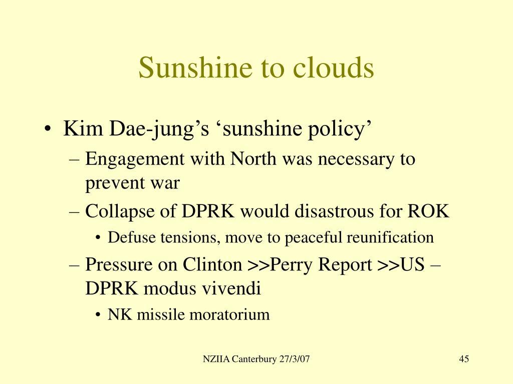 Sunshine to clouds
