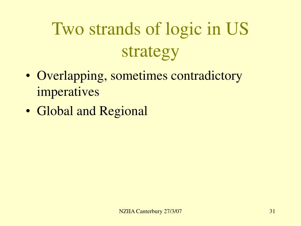 Two strands of logic in US strategy