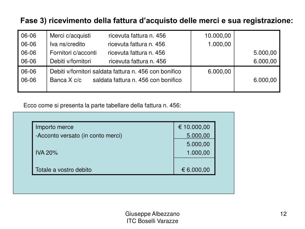 Fase 3) ricevimento della fattura d'acquisto delle merci e sua registrazione: