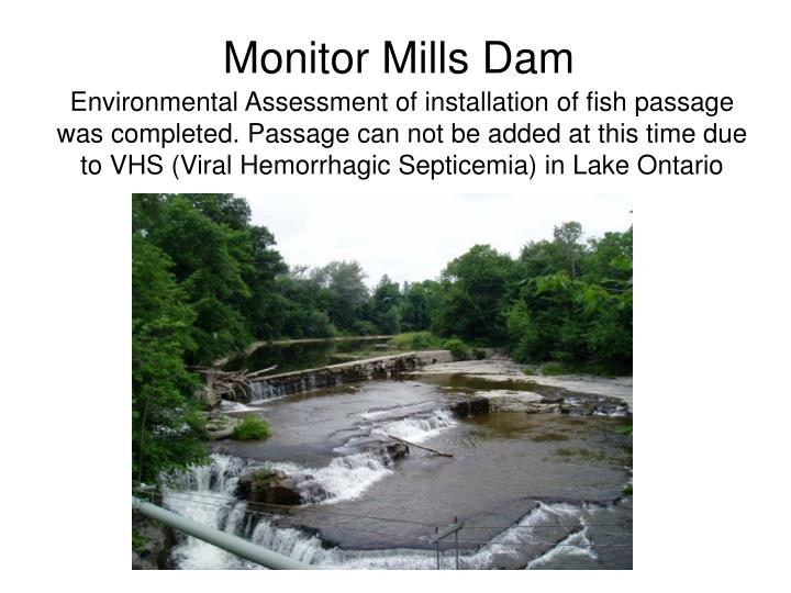 Environmental Assessment of installation of fish passage was completed. Passage can not be added at this time due to VHS (Viral Hemorrhagic Septicemia) in Lake Ontario