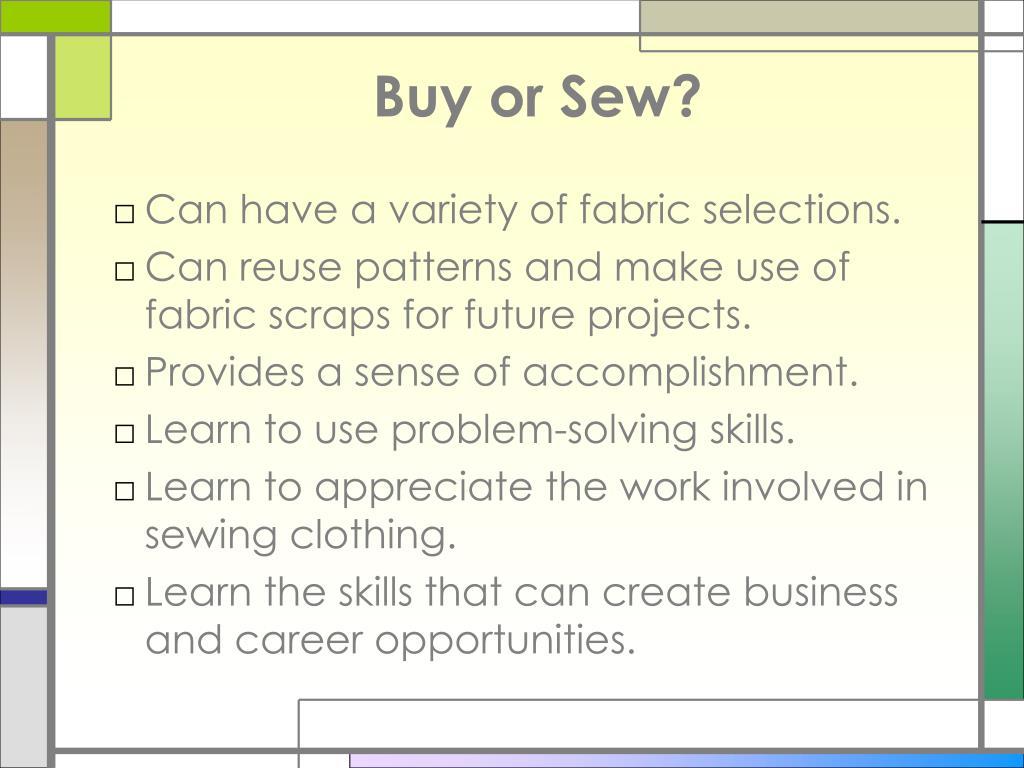 Buy or Sew?