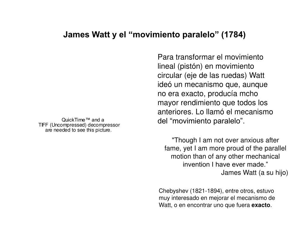 """James Watt y el """"movimiento paralelo"""" (1784)"""