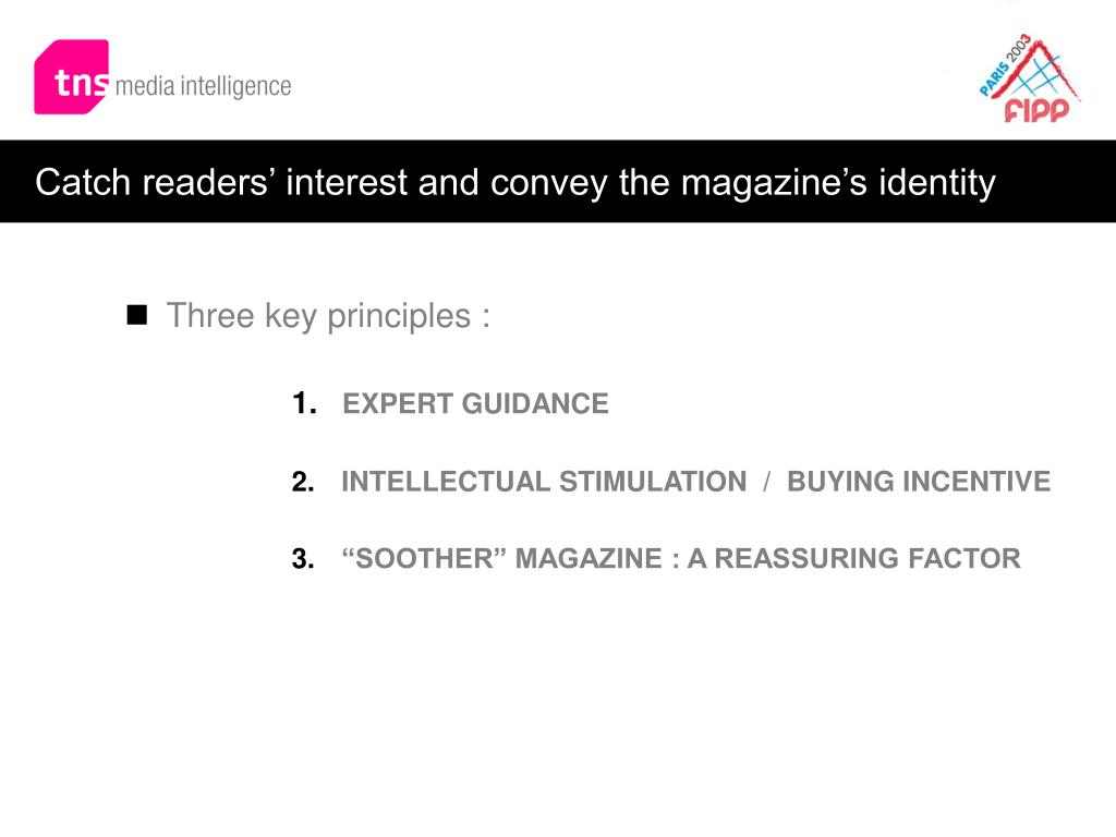 Catch readers' interest and convey the magazine's identity