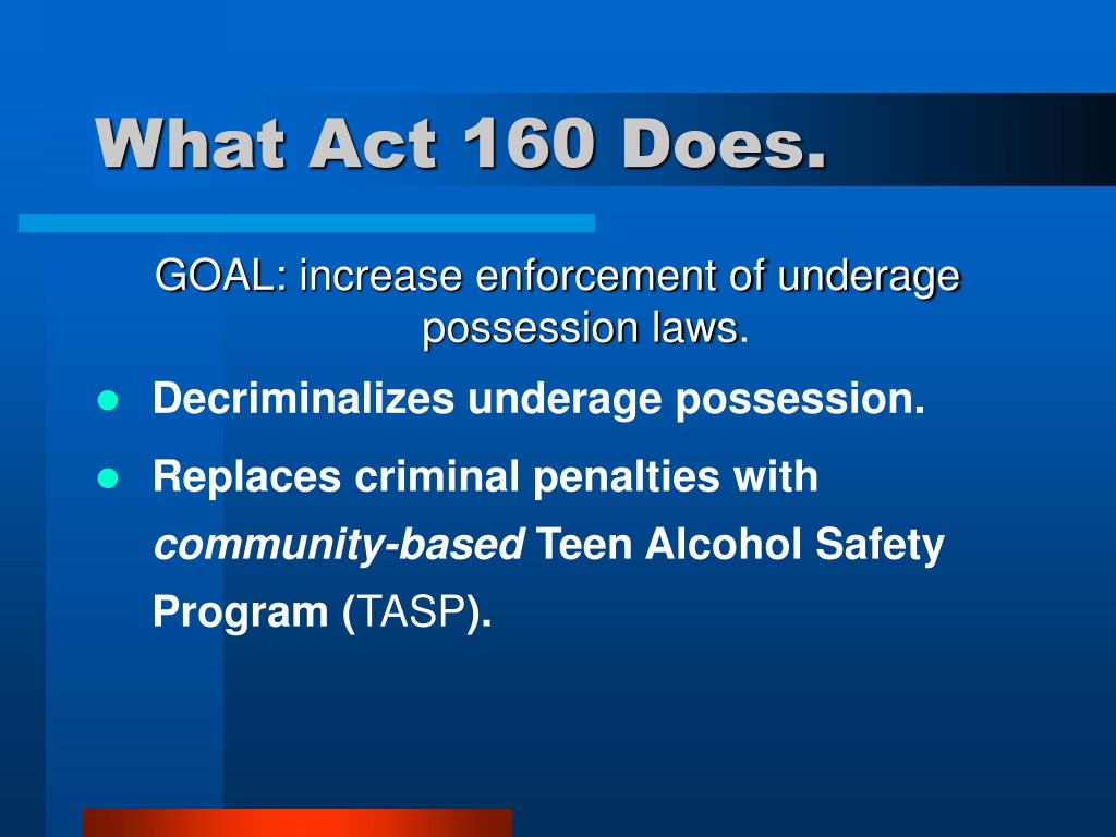 What Act 160 Does.