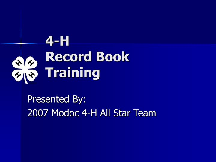 4 h record book training