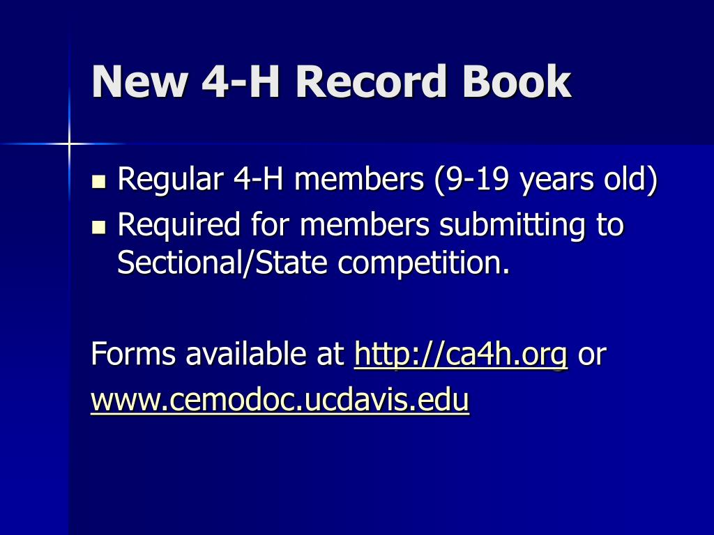 New 4-H Record Book