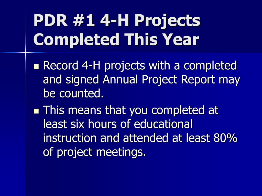 PDR #1 4-H Projects Completed This Year