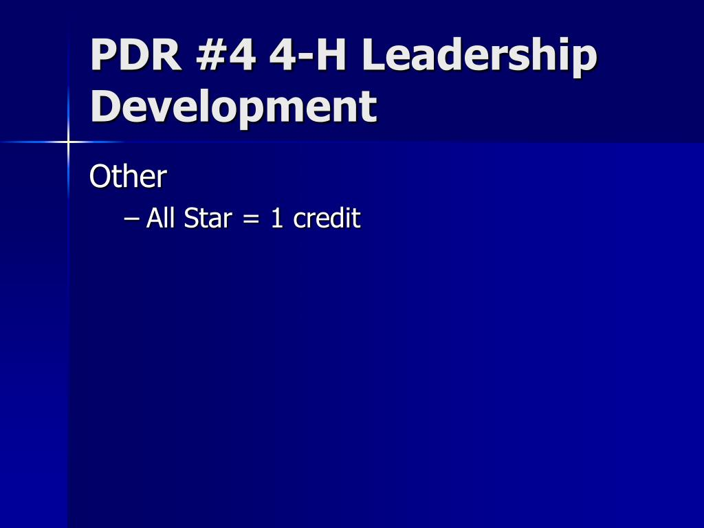 PDR #4 4-H Leadership Development