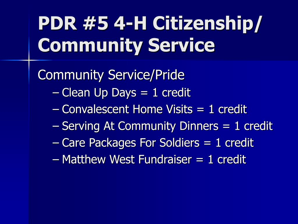 PDR #5 4-H Citizenship/