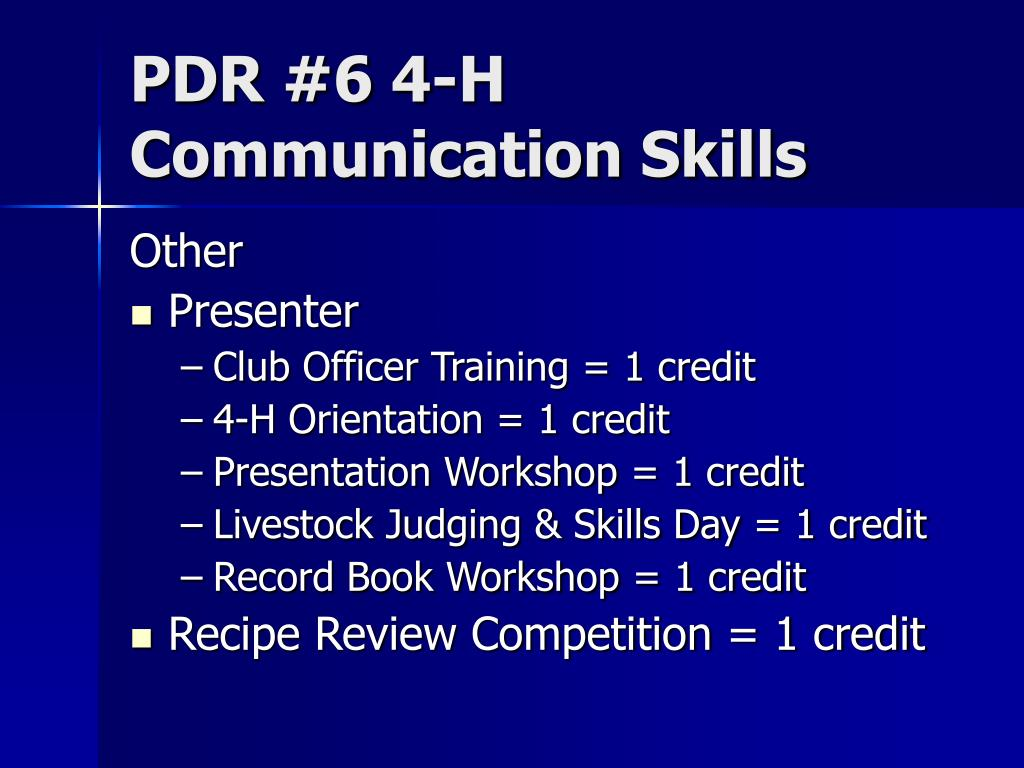 PDR #6 4-H Communication Skills