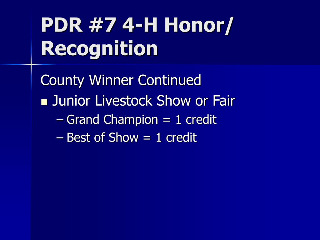 PDR #7 4-H Honor/