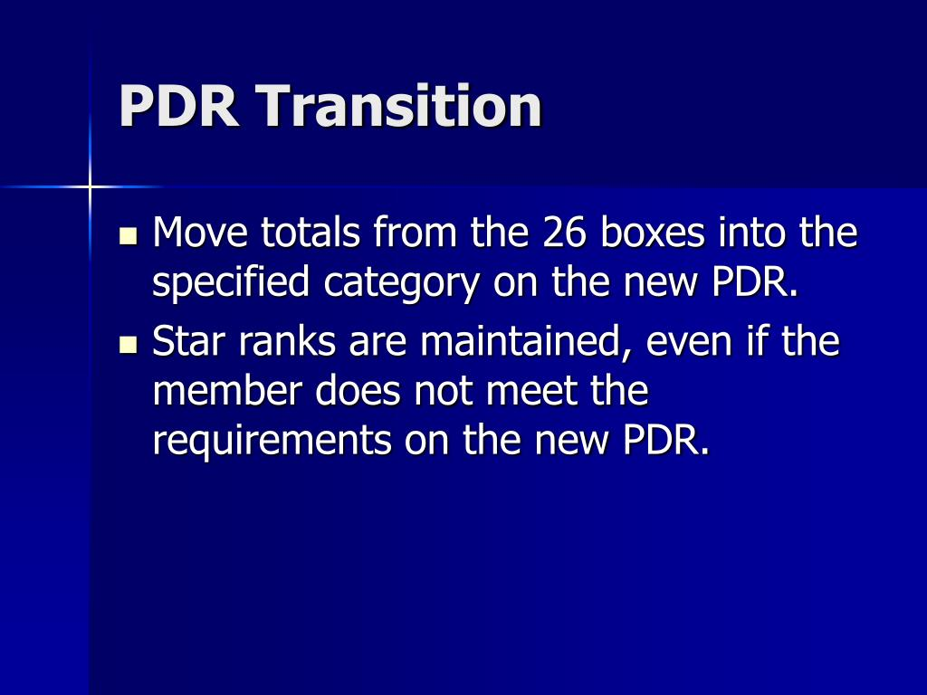 PDR Transition