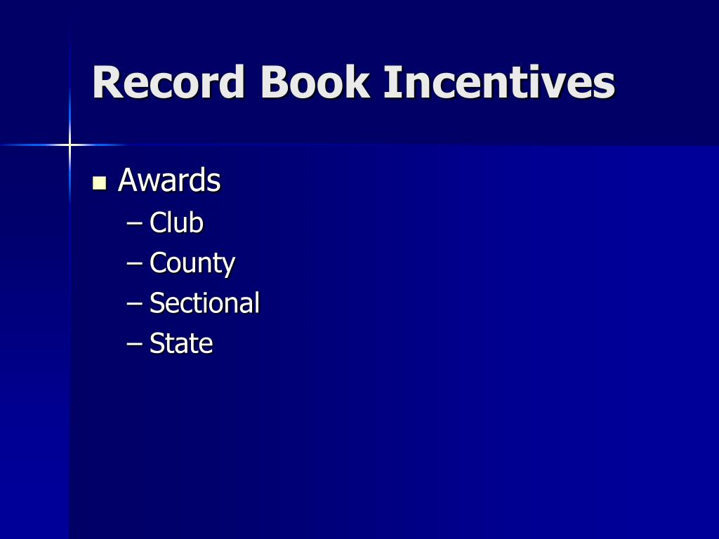 Record Book Incentives